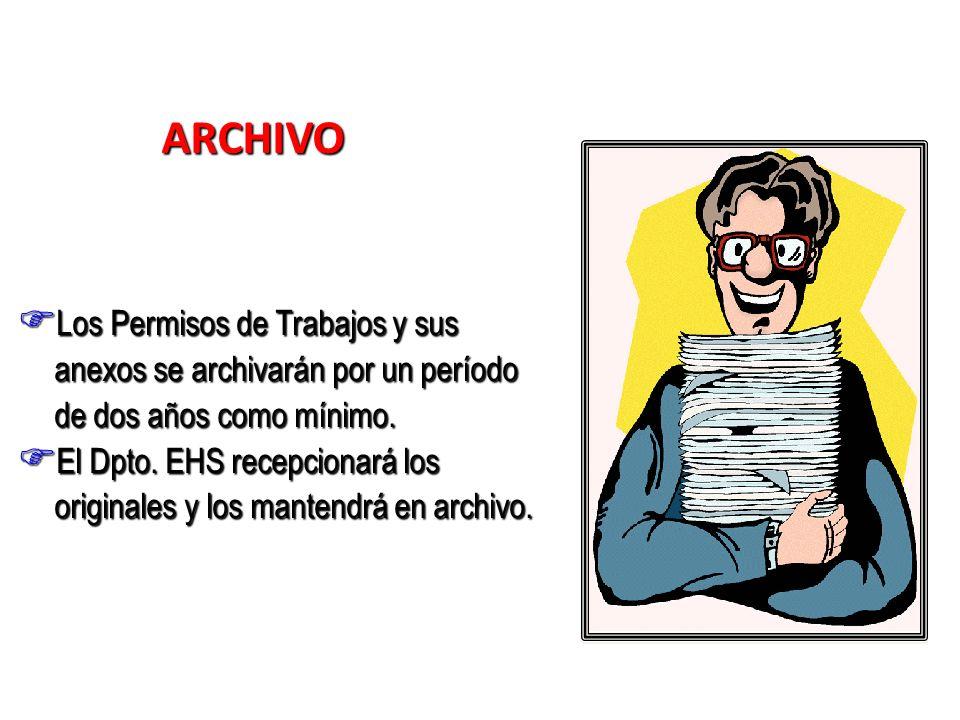 ARCHIVO Los Permisos de Trabajos y sus anexos se archivarán por un período de dos años como mínimo.