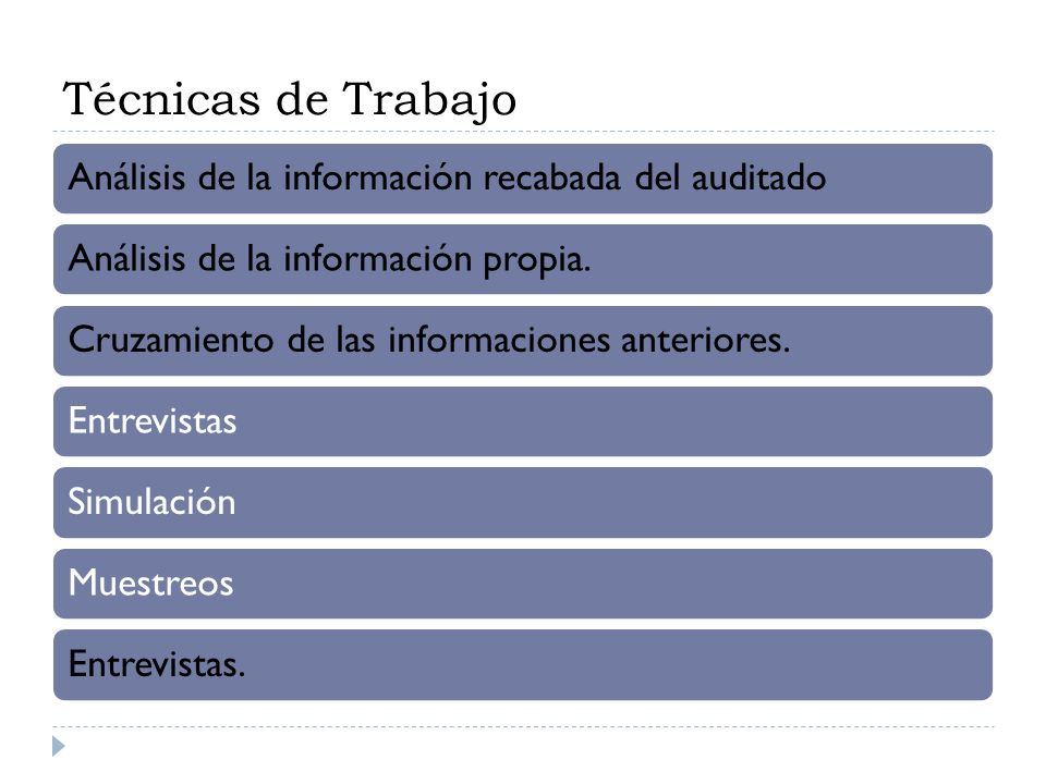 Técnicas de Trabajo Análisis de la información recabada del auditado