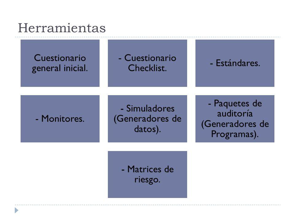 Herramientas Cuestionario general inicial. - Cuestionario Checklist.