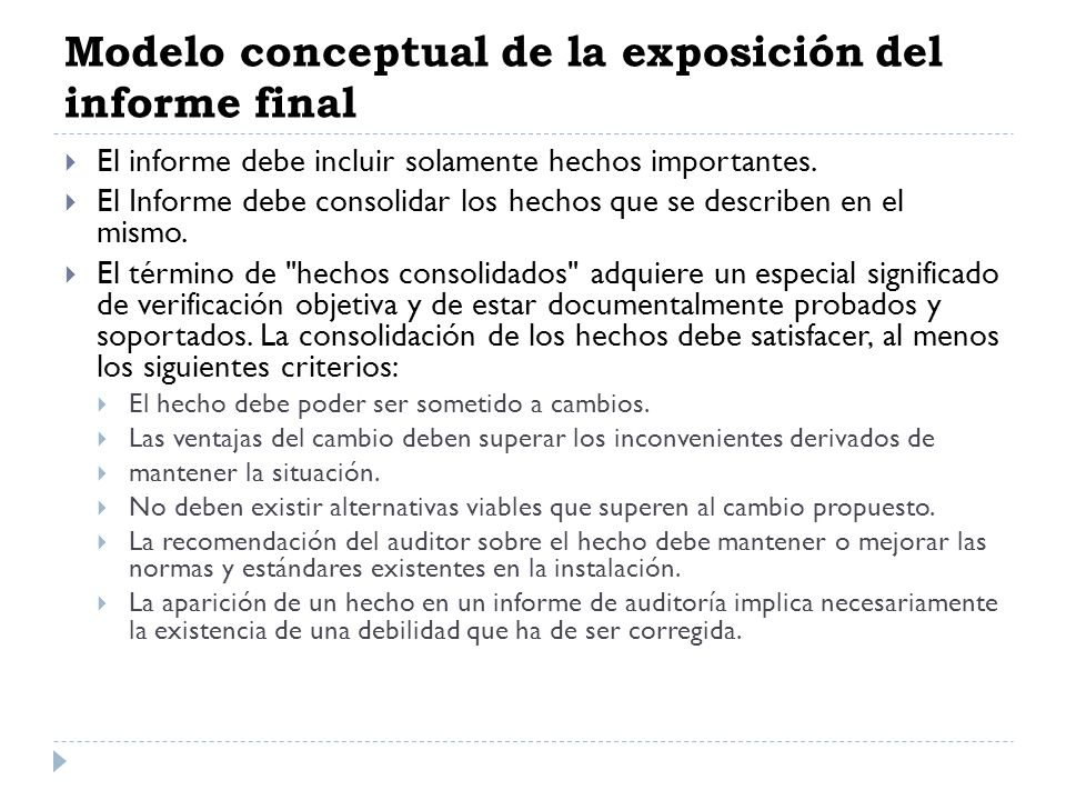 Modelo conceptual de la exposición del informe final