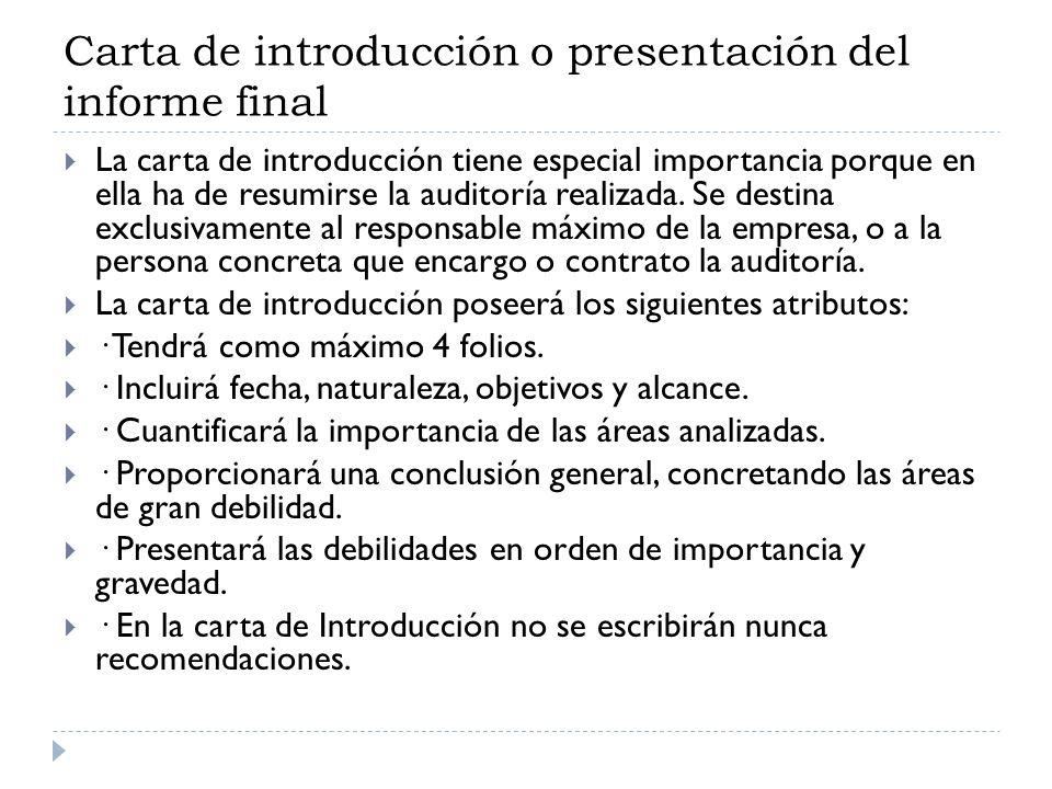 Carta de introducción o presentación del informe final
