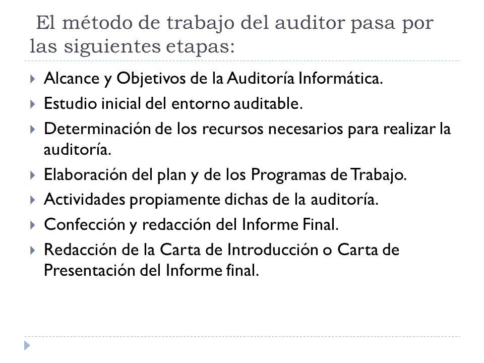 El método de trabajo del auditor pasa por las siguientes etapas: