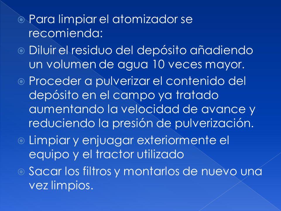 Para limpiar el atomizador se recomienda: