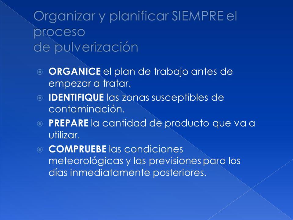 Organizar y planificar SIEMPRE el proceso de pulverización