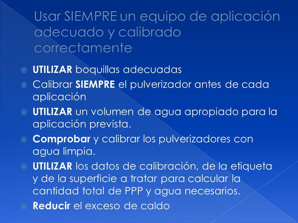 Usar SIEMPRE un equipo de aplicación adecuado y calibrado correctamente
