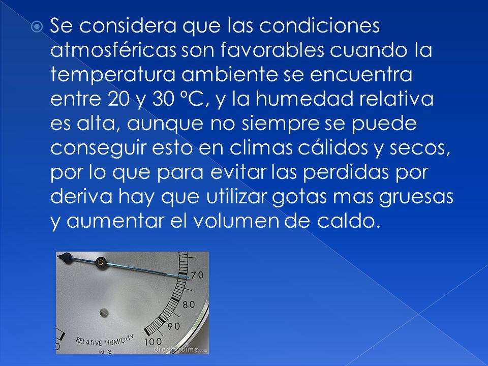 Se considera que las condiciones atmosféricas son favorables cuando la temperatura ambiente se encuentra entre 20 y 30 ºC, y la humedad relativa es alta, aunque no siempre se puede conseguir esto en climas cálidos y secos, por lo que para evitar las perdidas por deriva hay que utilizar gotas mas gruesas y aumentar el volumen de caldo.