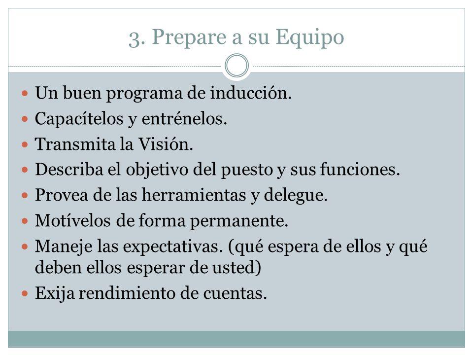 3. Prepare a su Equipo Un buen programa de inducción.