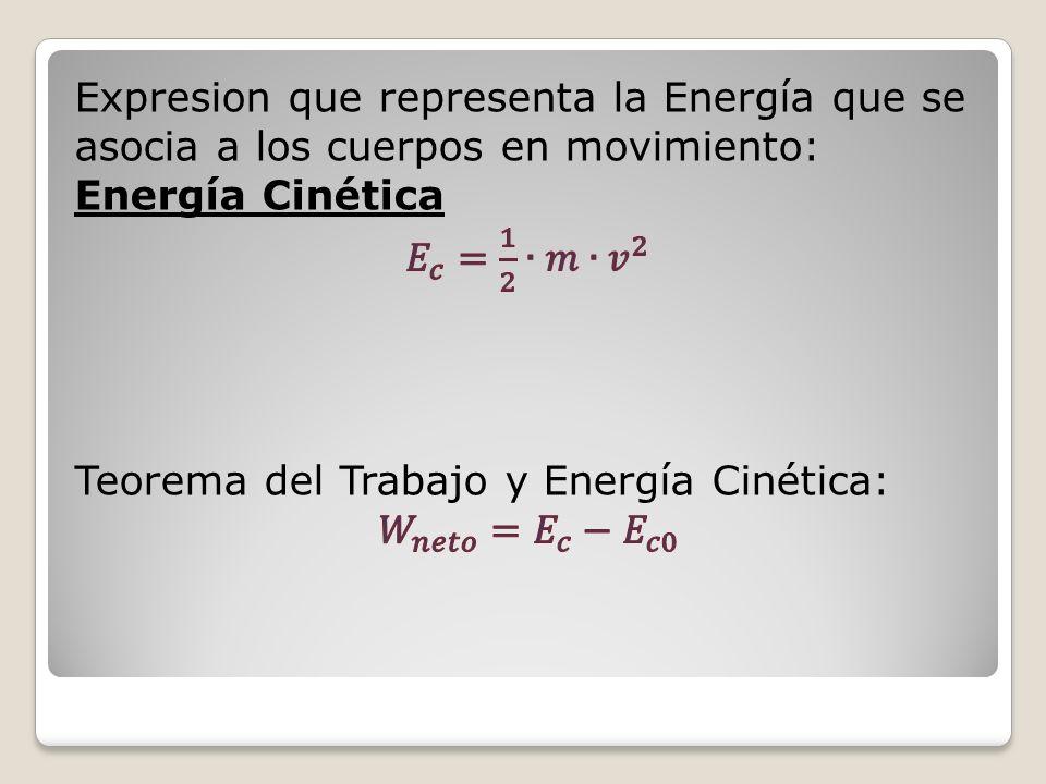 Expresion que representa la Energía que se asocia a los cuerpos en movimiento: Energía Cinética 𝐸 𝑐 = 1 2 ∙𝑚∙ 𝑣 2 Teorema del Trabajo y Energía Cinética: 𝑊 𝑛𝑒𝑡𝑜 = 𝐸 𝑐 − 𝐸 𝑐0