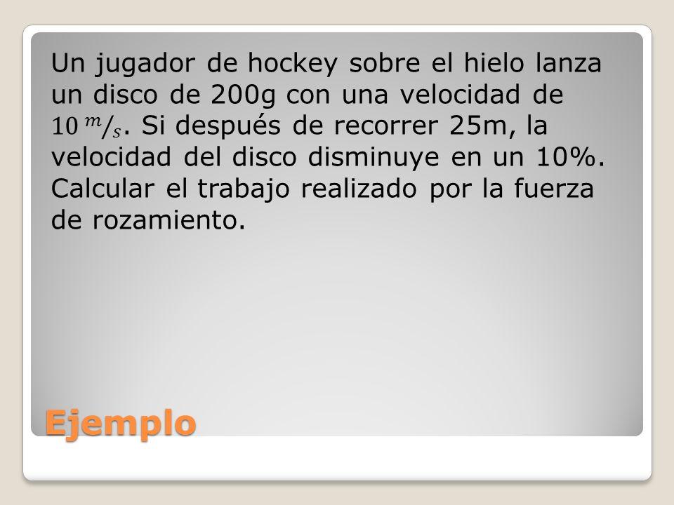 Un jugador de hockey sobre el hielo lanza un disco de 200g con una velocidad de 10 𝑚 𝑠 . Si después de recorrer 25m, la velocidad del disco disminuye en un 10%. Calcular el trabajo realizado por la fuerza de rozamiento.