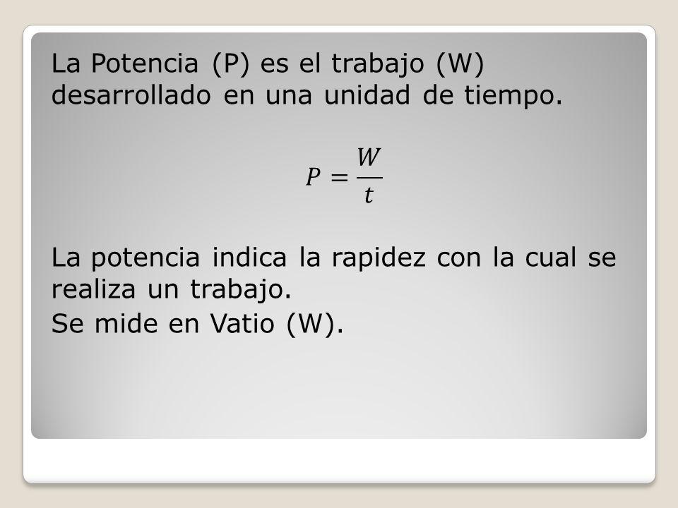 La Potencia (P) es el trabajo (W) desarrollado en una unidad de tiempo