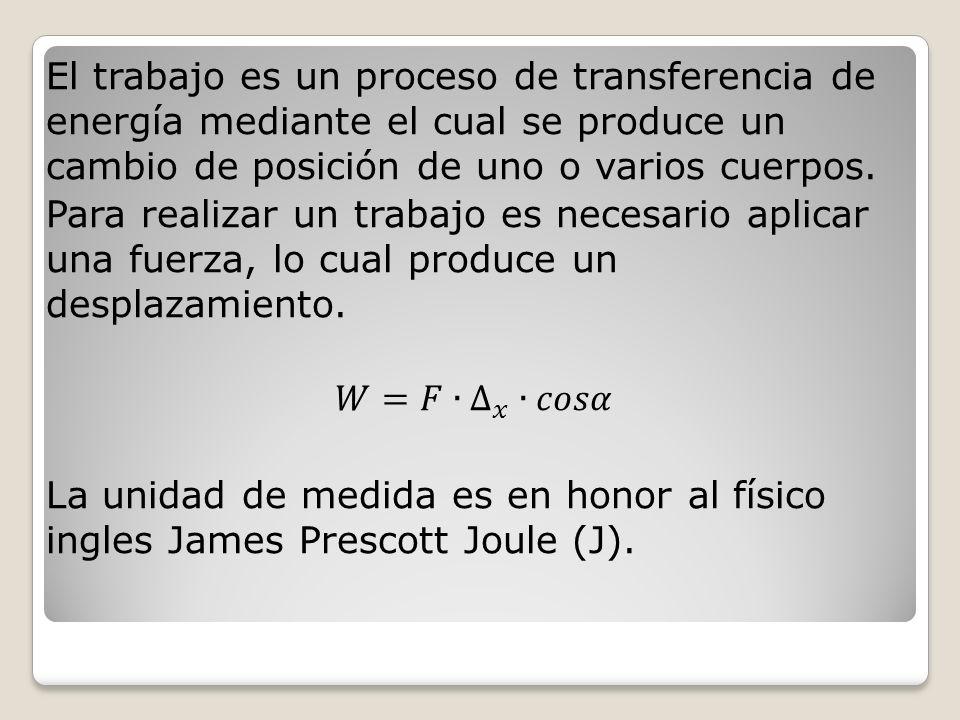 El trabajo es un proceso de transferencia de energía mediante el cual se produce un cambio de posición de uno o varios cuerpos.