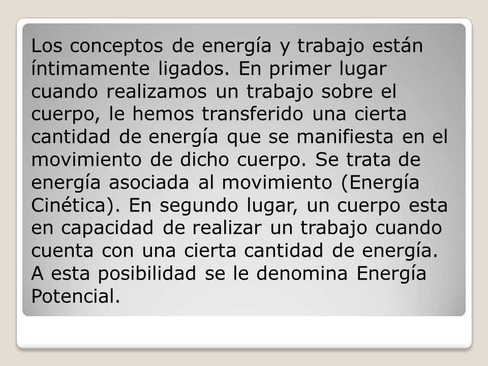Los conceptos de energía y trabajo están íntimamente ligados