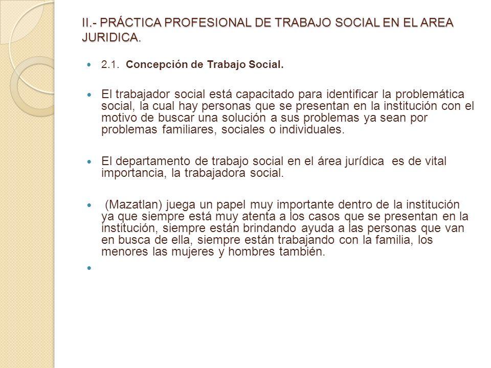 II.- PRÁCTICA PROFESIONAL DE TRABAJO SOCIAL EN EL AREA JURIDICA.