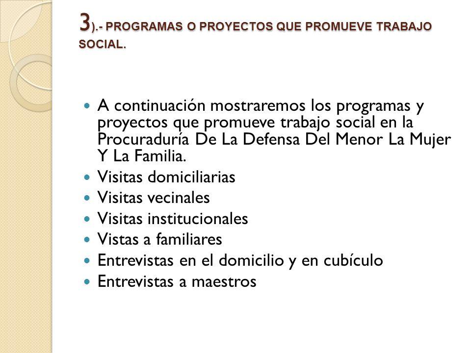 3).- PROGRAMAS O PROYECTOS QUE PROMUEVE TRABAJO SOCIAL.