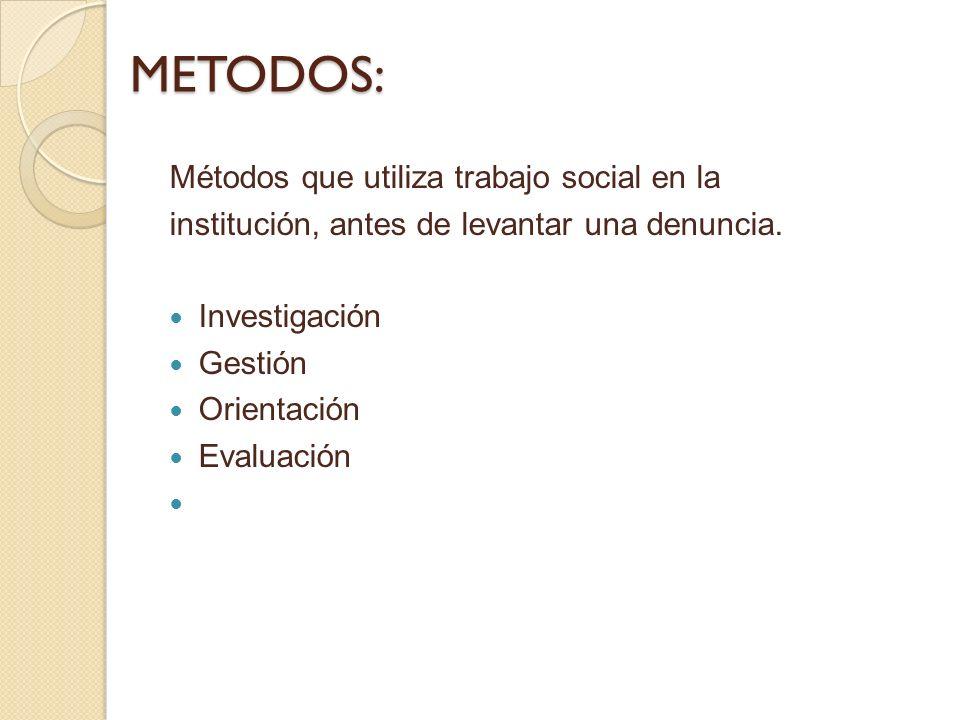METODOS: Métodos que utiliza trabajo social en la