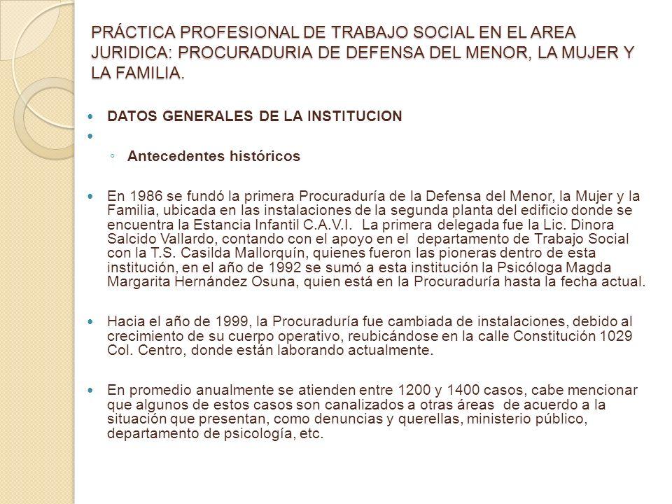 PRÁCTICA PROFESIONAL DE TRABAJO SOCIAL EN EL AREA JURIDICA: PROCURADURIA DE DEFENSA DEL MENOR, LA MUJER Y LA FAMILIA.