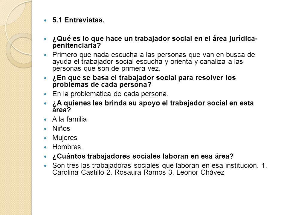 5.1 Entrevistas. ¿Qué es lo que hace un trabajador social en el área jurídica- penitenciaria