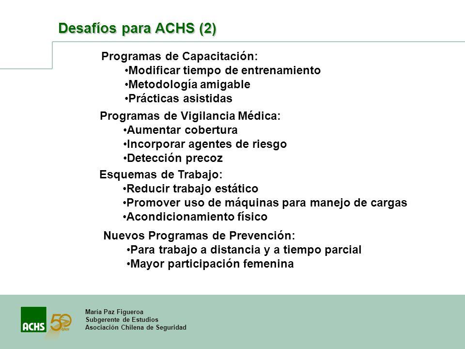 Desafíos para ACHS (2) Programas de Capacitación:
