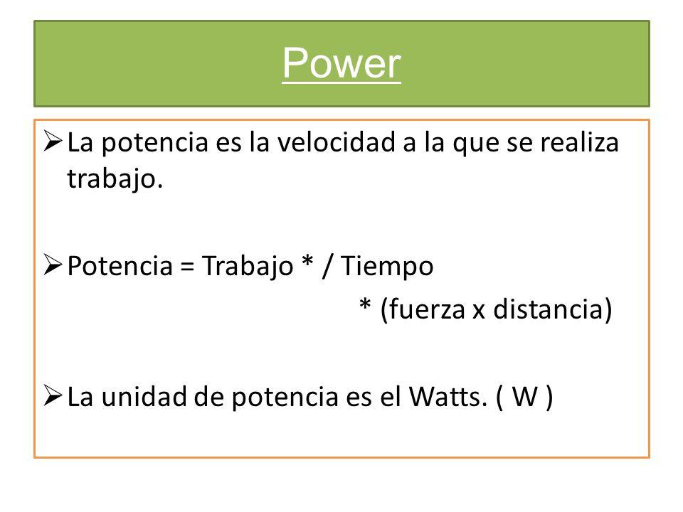 Power La potencia es la velocidad a la que se realiza trabajo.
