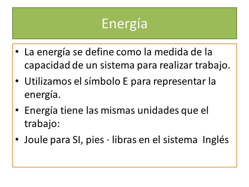Energía La energía se define como la medida de la capacidad de un sistema para realizar trabajo.