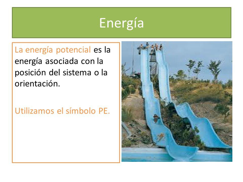 Energía La energía potencial es la energía asociada con la posición del sistema o la orientación.