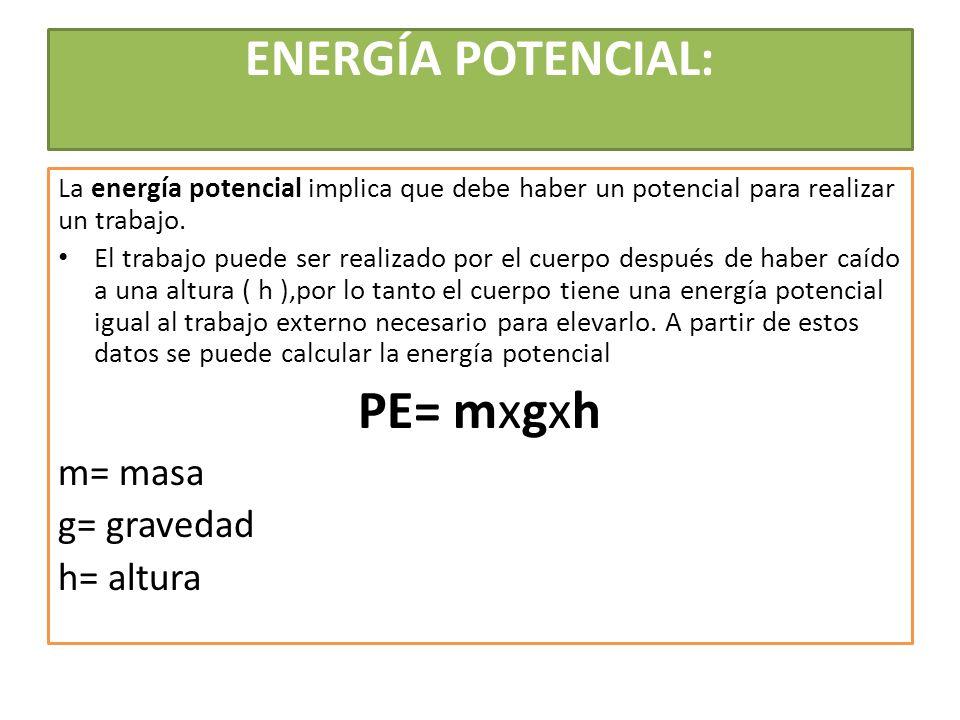 PE= mxgxh ENERGÍA POTENCIAL: m= masa g= gravedad h= altura