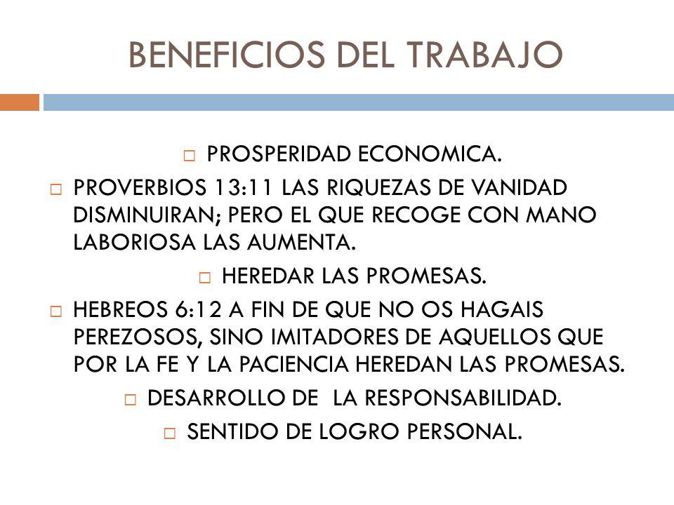 BENEFICIOS DEL TRABAJO