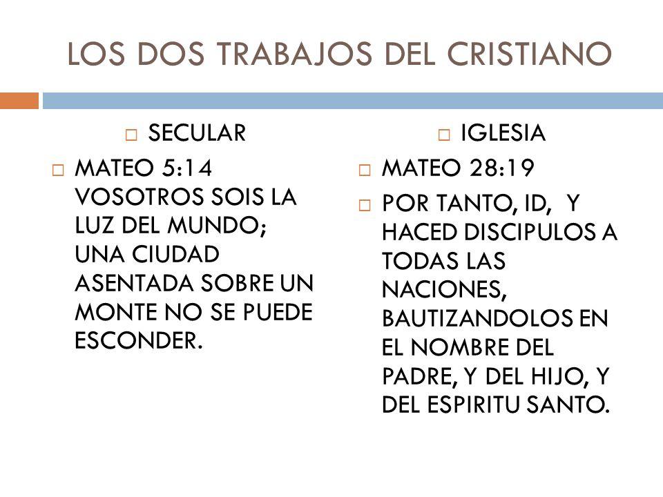 LOS DOS TRABAJOS DEL CRISTIANO