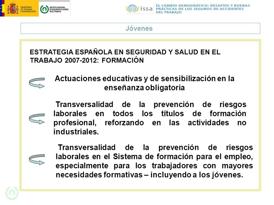 JóvenesESTRATEGIA ESPAÑOLA EN SEGURIDAD Y SALUD EN EL TRABAJO 2007-2012: FORMACIÓN.