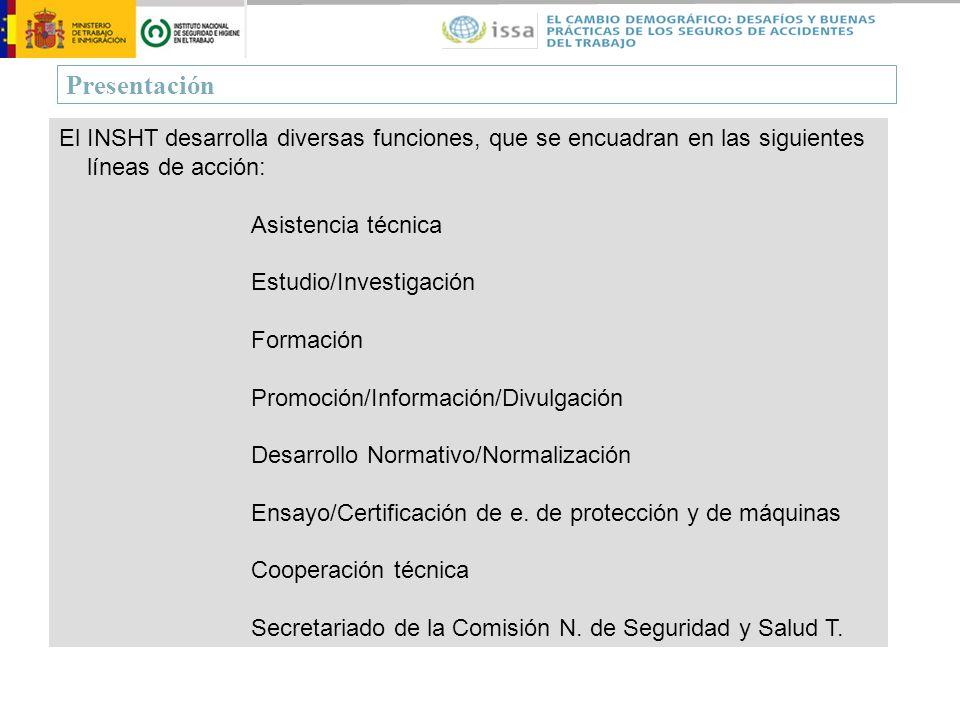 Presentación El INSHT desarrolla diversas funciones, que se encuadran en las siguientes líneas de acción: