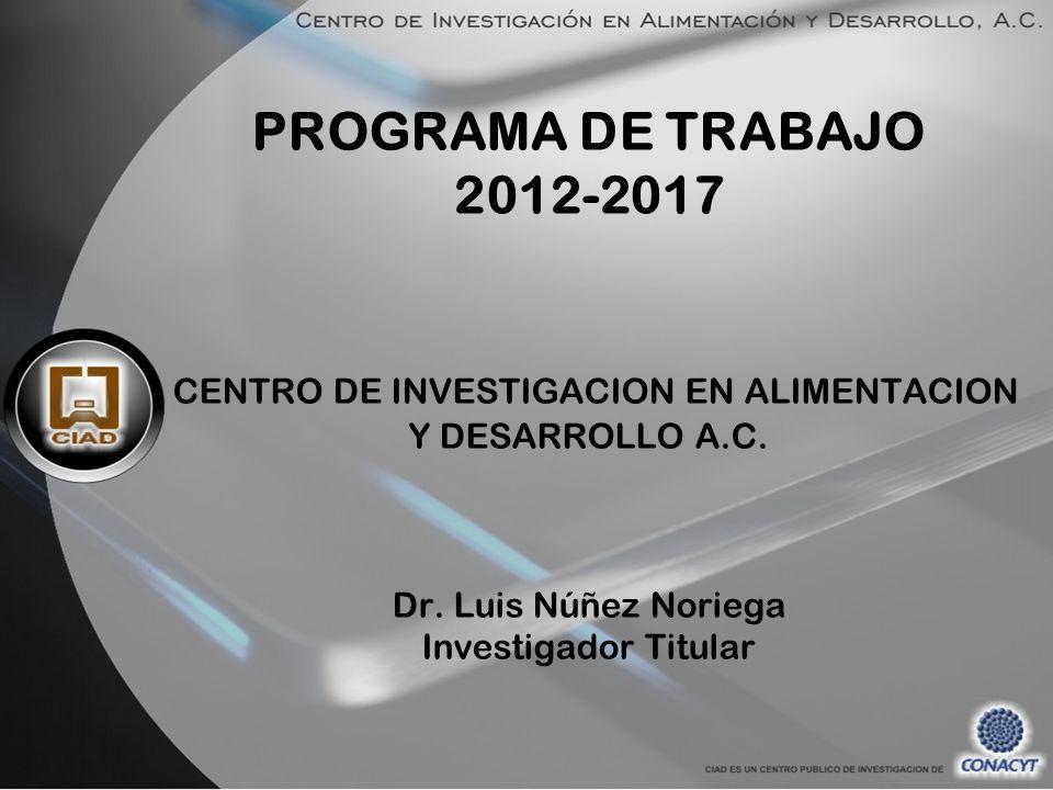 PROGRAMA DE TRABAJO 2012-2017 CENTRO DE INVESTIGACION EN ALIMENTACION Y DESARROLLO A.C.