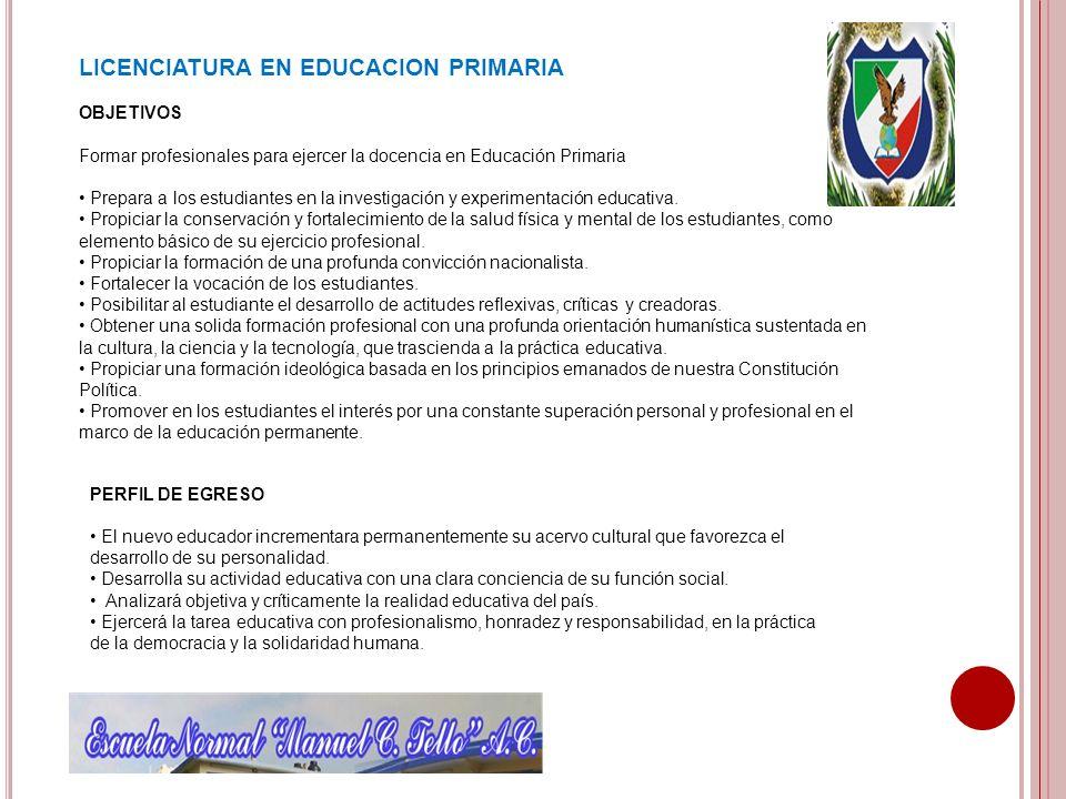LICENCIATURA EN EDUCACION PRIMARIA