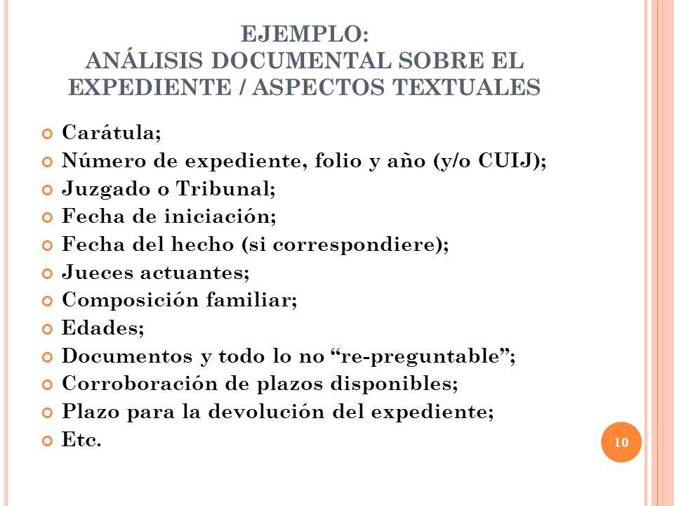 EJEMPLO: ANÁLISIS DOCUMENTAL SOBRE EL EXPEDIENTE / ASPECTOS TEXTUALES