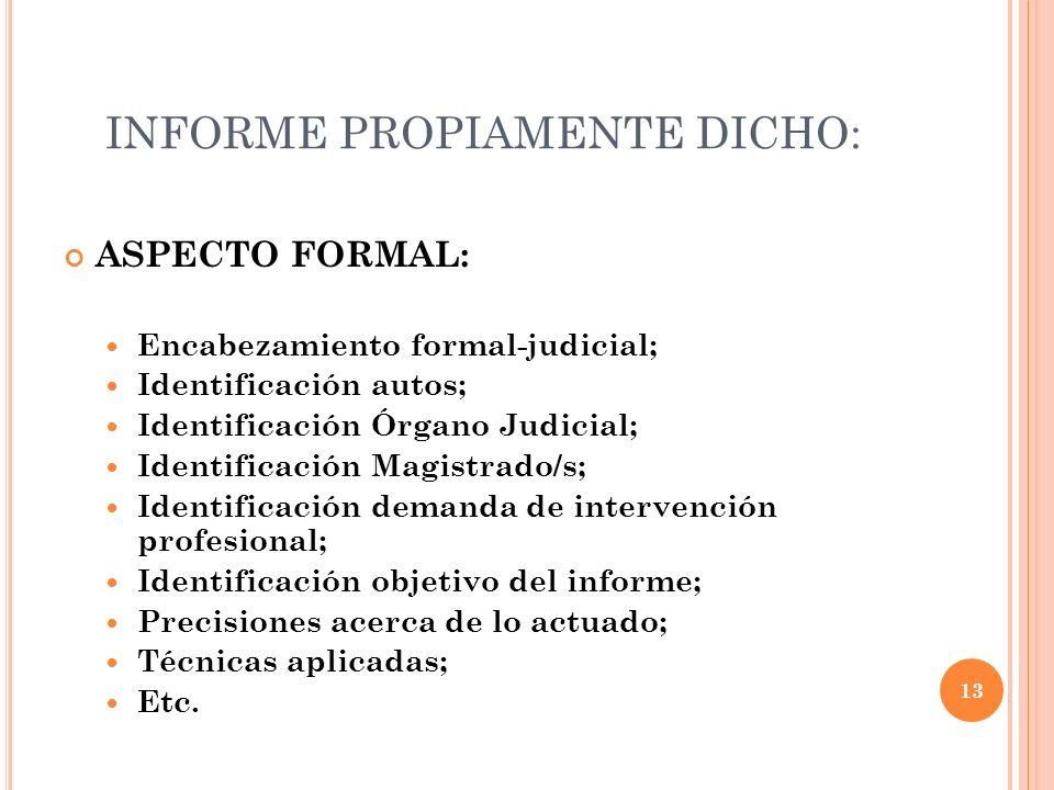 INFORME PROPIAMENTE DICHO: