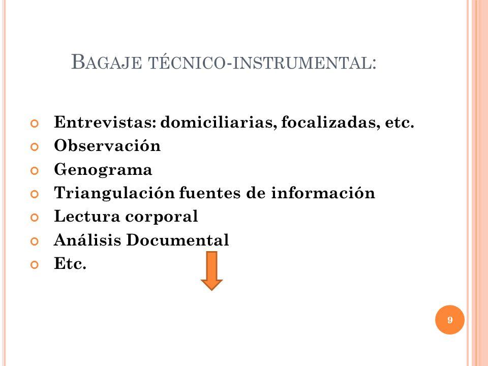 Bagaje técnico-instrumental: