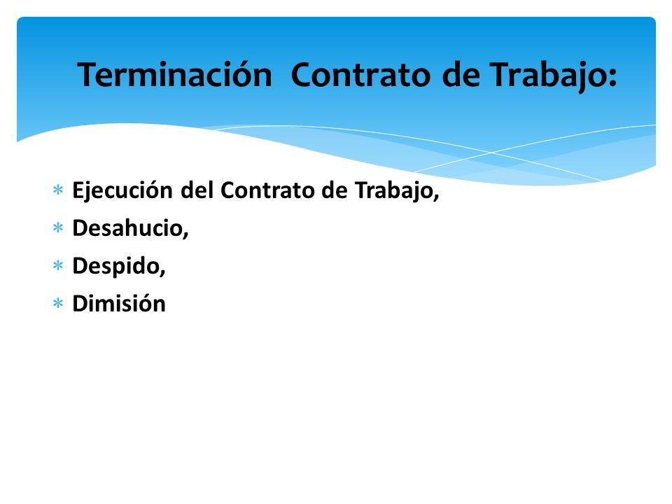 Terminación Contrato de Trabajo: