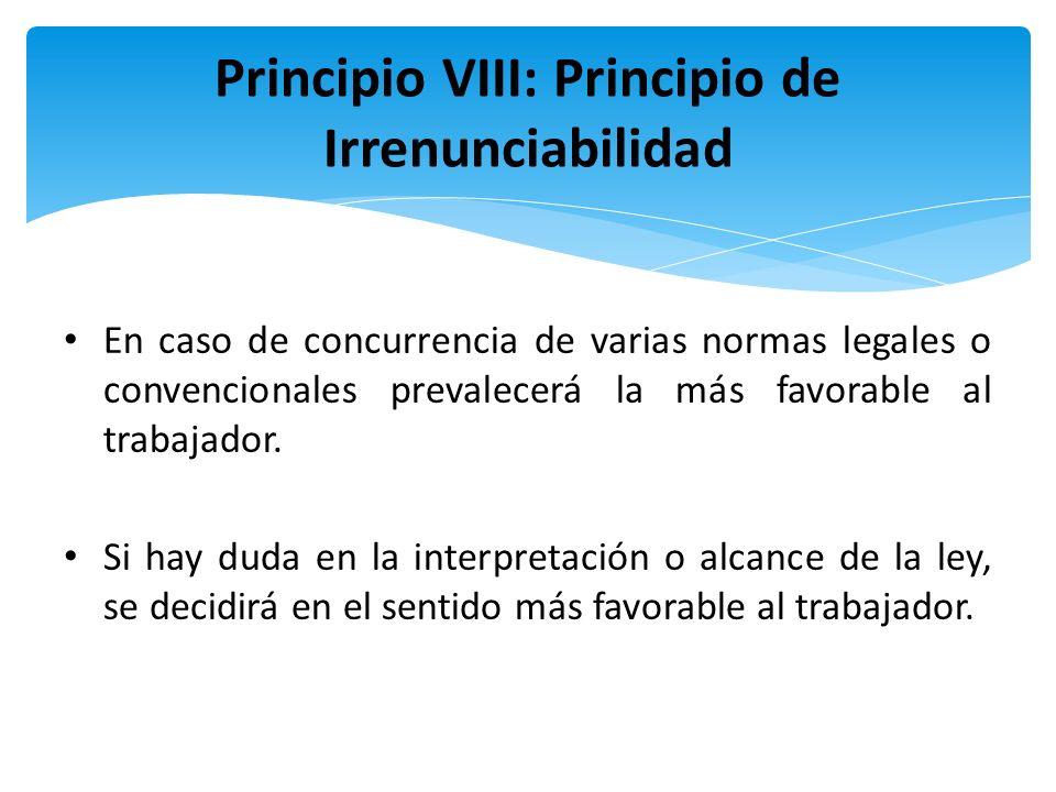 Principio VIII: Principio de Irrenunciabilidad