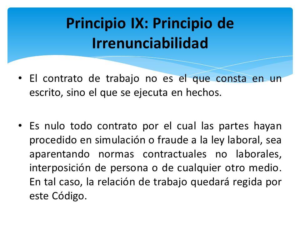 Principio IX: Principio de Irrenunciabilidad