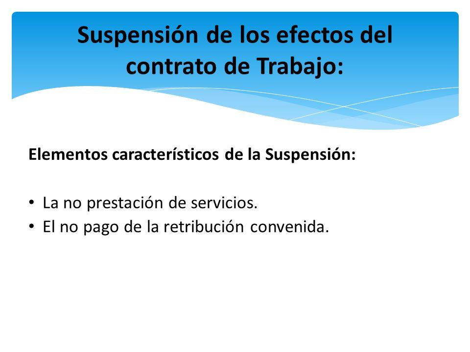 Suspensión de los efectos del contrato de Trabajo: