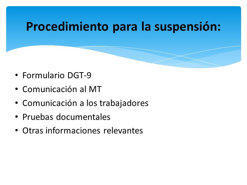 Procedimiento para la suspensión: