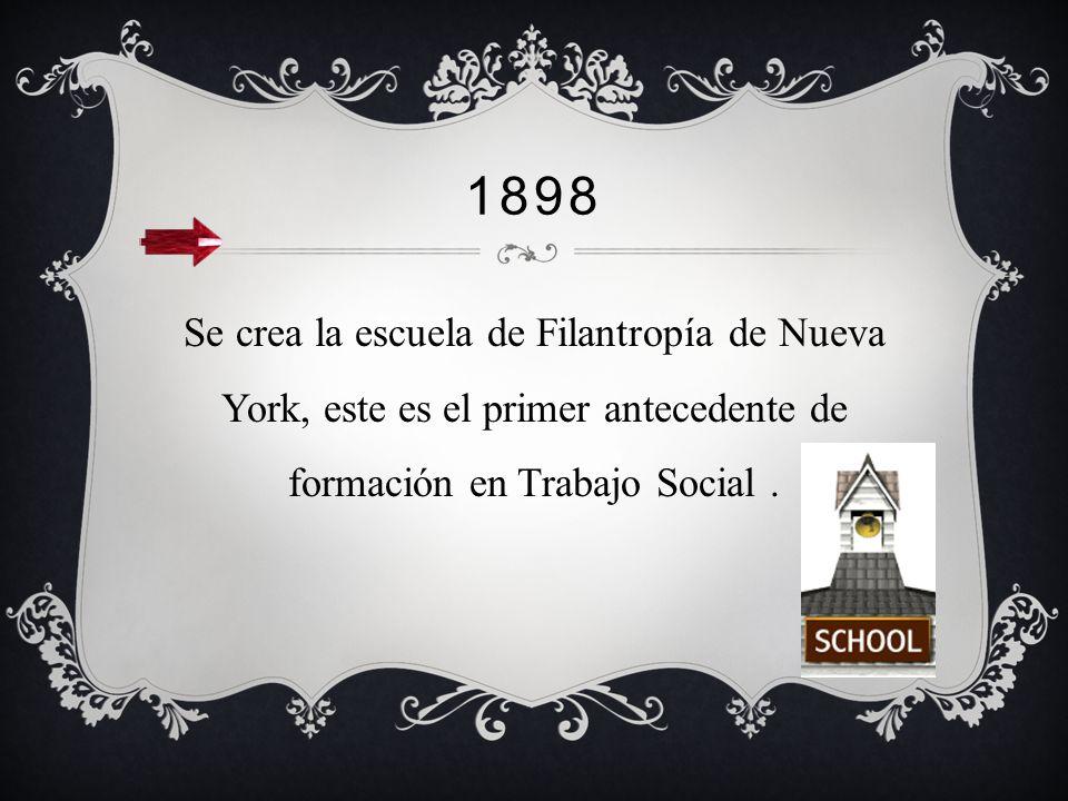 1898 Se crea la escuela de Filantropía de Nueva York, este es el primer antecedente de formación en Trabajo Social .