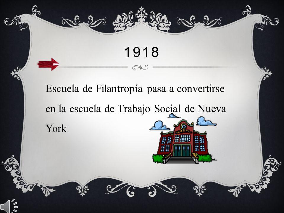 1918 Escuela de Filantropía pasa a convertirse en la escuela de Trabajo Social de Nueva York