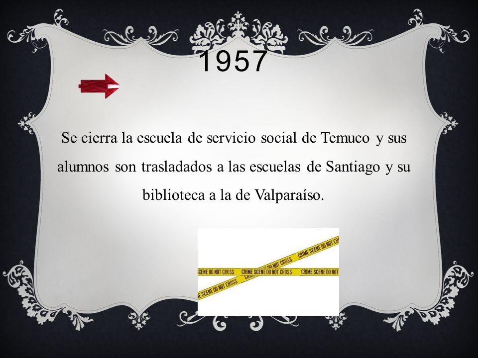 1957 Se cierra la escuela de servicio social de Temuco y sus alumnos son trasladados a las escuelas de Santiago y su biblioteca a la de Valparaíso.