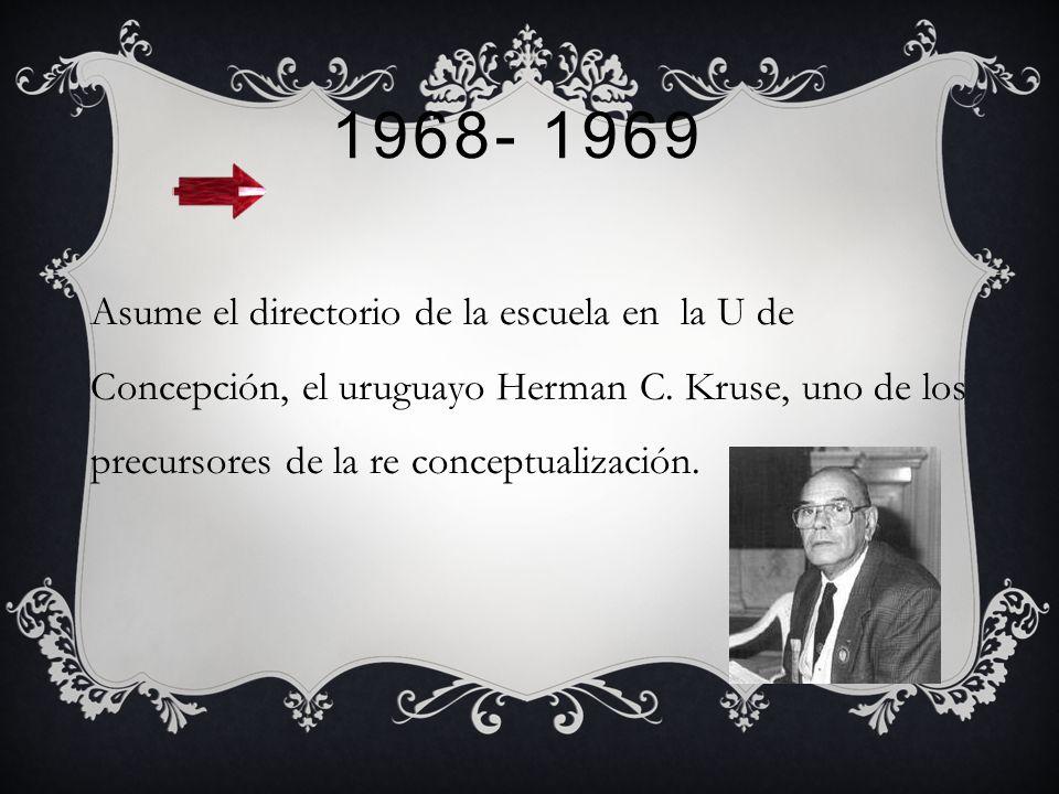 1968- 1969 Asume el directorio de la escuela en la U de Concepción, el uruguayo Herman C.