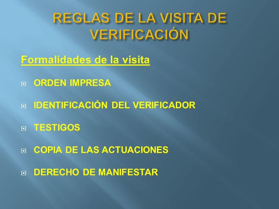 REGLAS DE LA VISITA DE VERIFICACIÓN