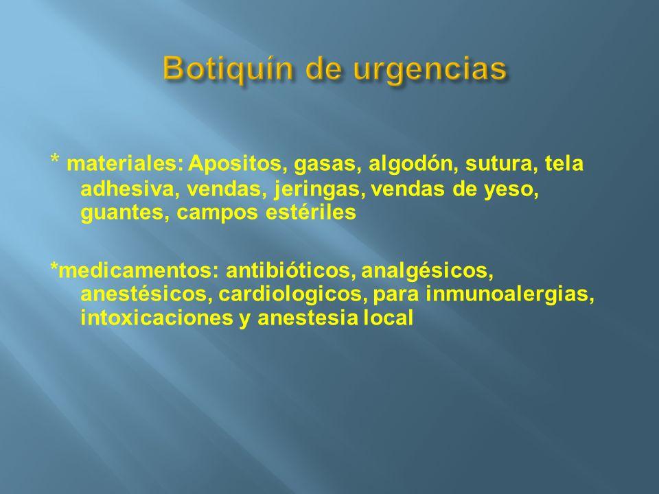 Botiquín de urgencias * materiales: Apositos, gasas, algodón, sutura, tela adhesiva, vendas, jeringas, vendas de yeso, guantes, campos estériles.