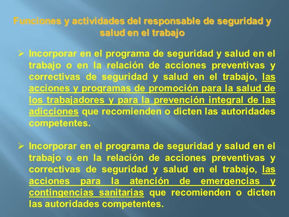 Funciones y actividades del responsable de seguridad y salud en el trabajo