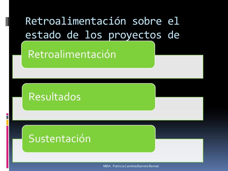 Retroalimentación sobre el estado de los proyectos de investigación.