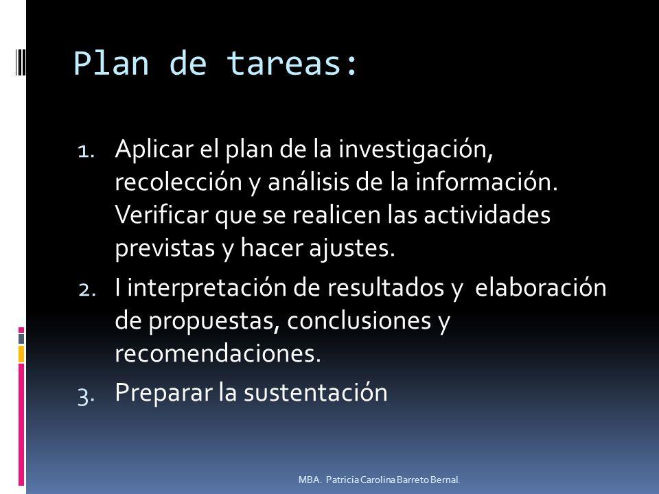 Plan de tareas: