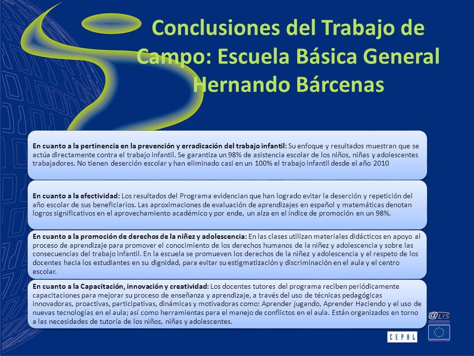 Conclusiones del Trabajo de Campo: Escuela Básica General Hernando Bárcenas